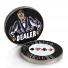 Metal Dealer Button Chip 1Pcs 55MM Coins Metal Poker Card with Plastic Cover NEW