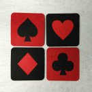 4 pcs Square Placemat Mat for Cup on the Table Suit Symbol Poker Playing Cards