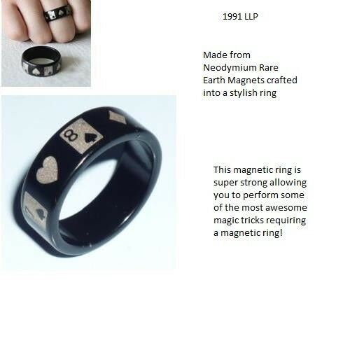 Strong Magnetic Ring With Poker Pattern Magic Tricks Accessories Fire Ment 19 mm
