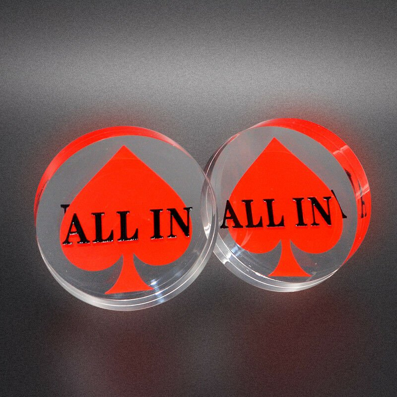 ALL IN Round Poker Button with Red Spades Peaks Black Heart Transparent 58 mm