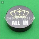 Quality 80x20 mm Big Black Round ALL IN Button Crystal Crown Poker Cards Guard
