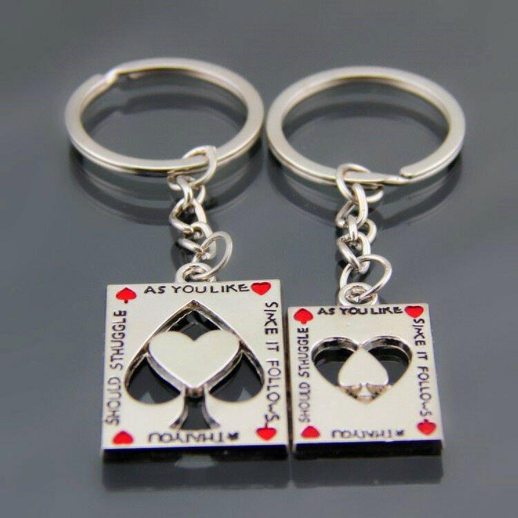 Poker Keychain Couple Lovers Cute Women Men Car Key Chain Keyring Spade Heart