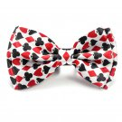 Men's Bowtie Playing Cards Poker BlackJack Symbol PatternRed White Unisex Tuxedo