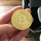 Gold Plated Bitcoin Physical Souvenir Cryptocurrency Bit Coins BTC XBT Gift Case