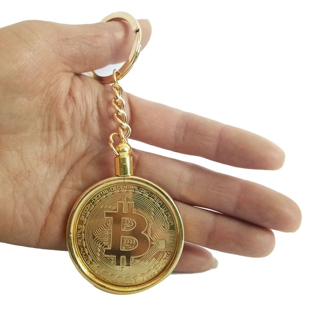 Bitcoin Coin Keychain Key 1pc Detachable Gold Plated Gift Souvenir ArtCollection