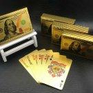 Poker US Dollar Style Plastic One Deck Gold Foil Waterproof Gambling Board game