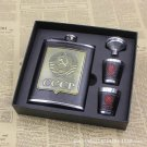 Set Stainless Steel USSR Whiskey Alcohol Gift Box Funnel 1 Cup 2 Flasks Leather
