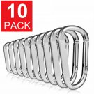 10-Pack Aluminum Carabiner D-Ring Key Chain Clip Hook Silver