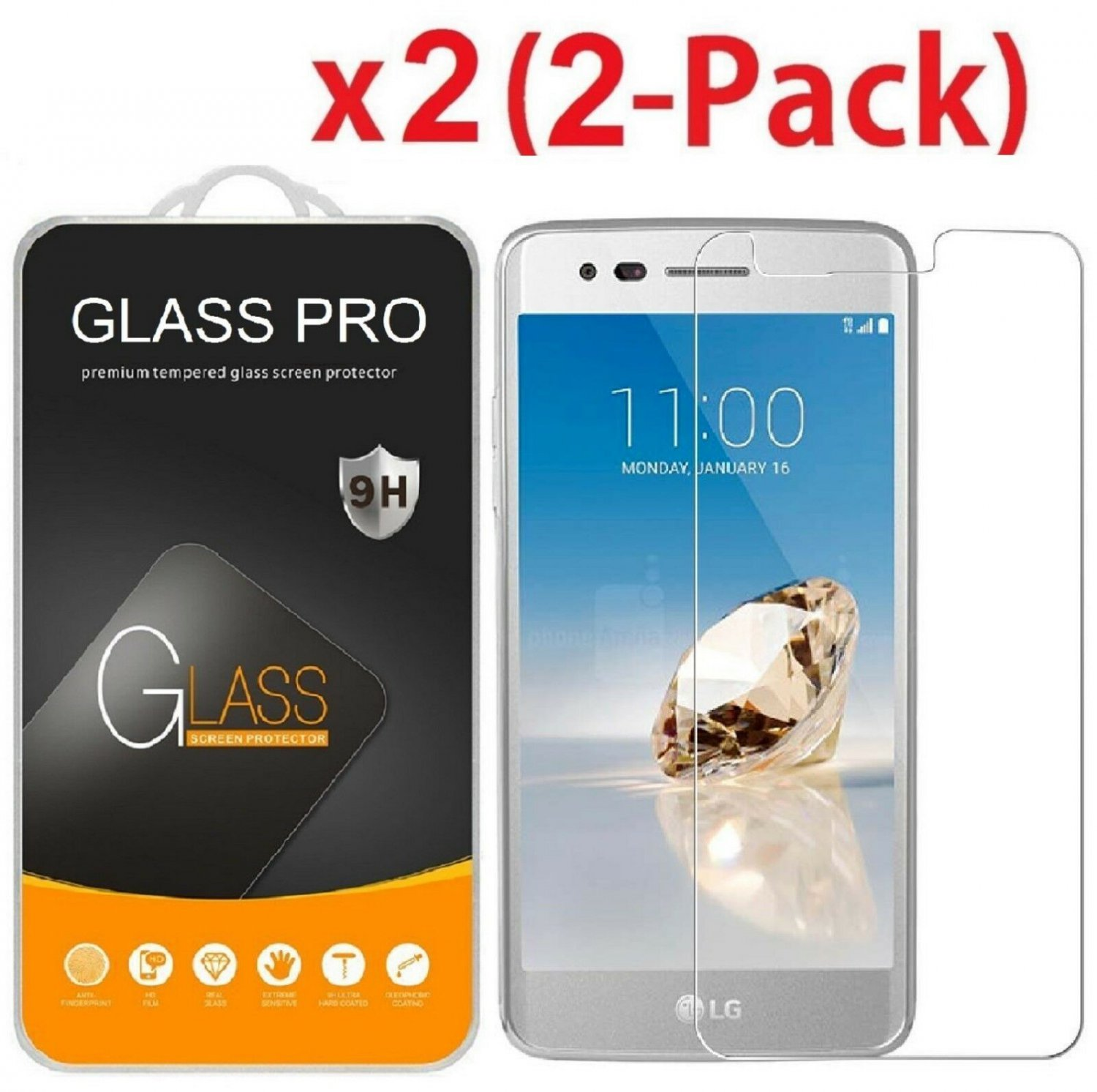 [2-Pack] Tempered Glass Screen Protector For LG Aristo/LG K8 2017/ LG LV3