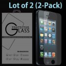 2-Pack Premium Real Tempered Glass Screen Protector for Apple iPhone 5 5S 5C