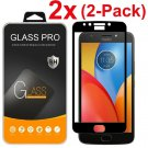2X For Motorola Moto E4 Plus Full Cover Tempered Glass Screen Protector Black