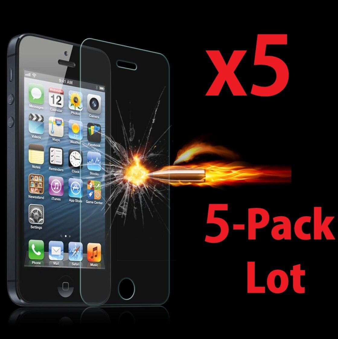 5x Wholesale Lot Tempered Glass Screen Protector for Apple iPhone 5/5C/5S