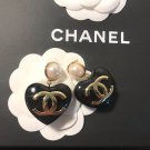 Chanel CC Earrings with Pearl Heart Logo