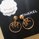 Chanel Drop CC Logo Clip on Hoop Earrings