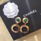Chanel Green Resin CC Logo Clip on Earrings