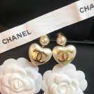 Chanel Pearl Heart CC Logo Earrings