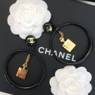 Chanel No.5 Perfume Bottle CC Logo Hoop Clip on Earrings