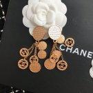 Chanel Long CC Logo Coins Clip on Earrings