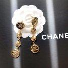 Chanel Long Drop Button CC Logo Earrings
