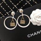 Chanel Quilted Handbag Hoop CC Logo Clip on Earrings