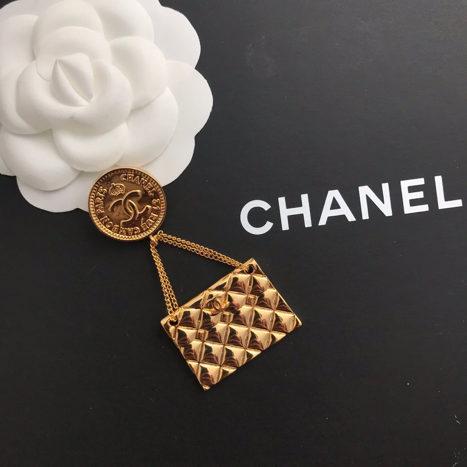 Chanel Quilted Bag CC Logo Brooch