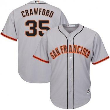 Men's San Francisco Giants #35 Brandon Crawford Gray Road Cool ...