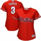 Women's Bryce Harper Jersey #3 Philadelphia Phillies Red Alternate Cool Base Baseball