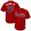 Ronald Acuna Jr. Jersey Atlanta Braves Red #13 Men's Cool Base Alternate Jersey