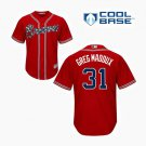 Youth Greg Maddux Jersey #31 Atlanta Braves Red Alternate Cool Base Jersey