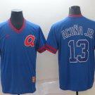 Men's Atlanta Braves #13 Ronald Acuna Jr Blue Throwback Jersey