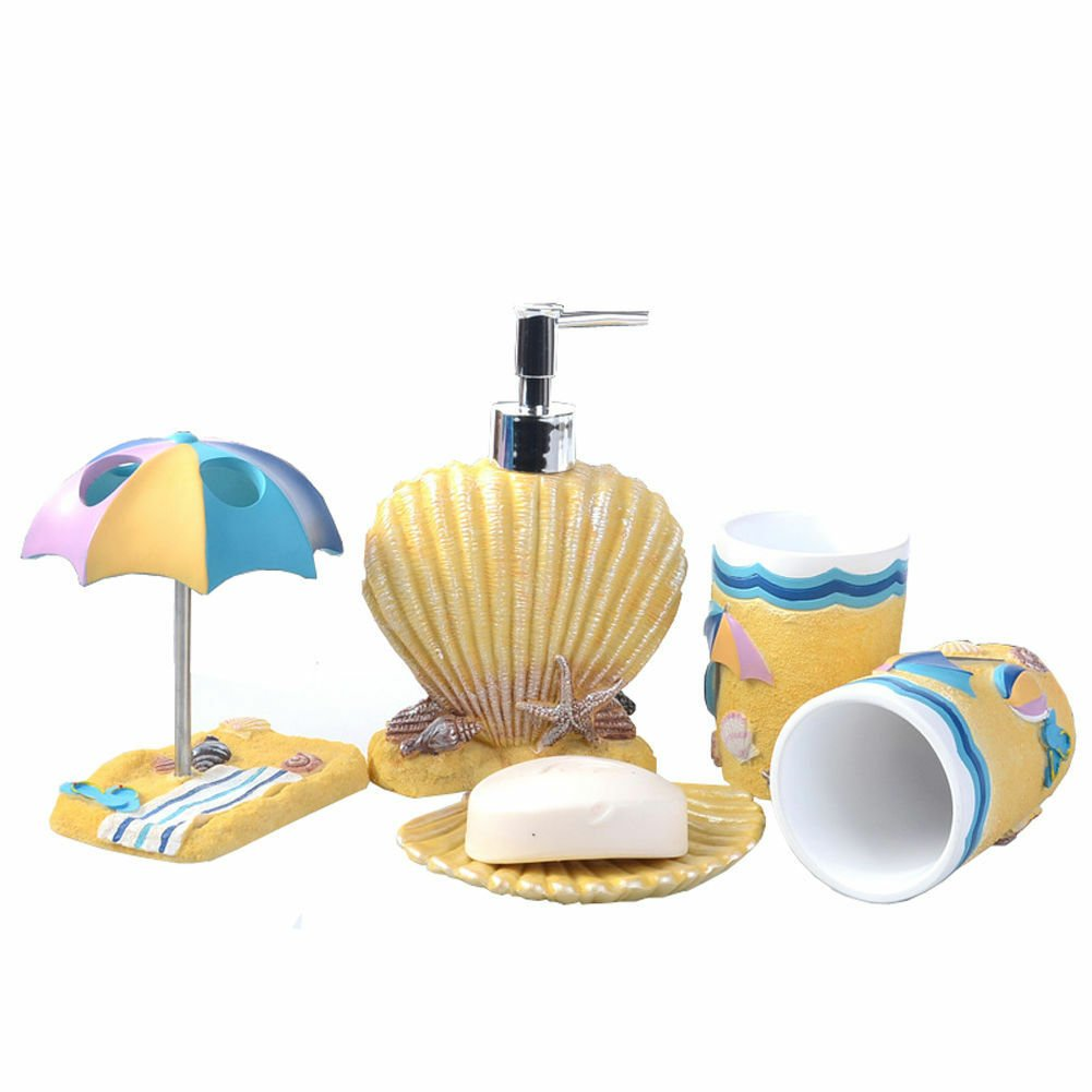 Contemporary Resin Marine Style 5 Pcs Accessories Bathroom Set Toothbrush Holder