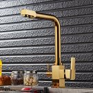 Brass Gold Kitchen Basin Faucet Drinkable Hot&Cold Water Dual Handles Mixer Tap