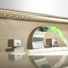 3PCS LED Waterfall Spout Bathroom Tub Basin Sink Mixer Tap Chrome Faucet Brass