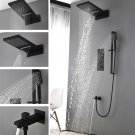 Brass 4 Handles Thermostatic Mixer Shower Set All Matte Black Shower Head Faucet