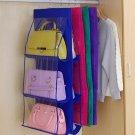 6 pocket Home Hanging Storage Organizer purse Handbag Closet Rack Hangers Shelf