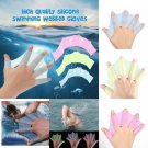 Silicone Hand Swimming Gloves Fins Flippers Swim Palm Finger Webbed Paddle S/M/L