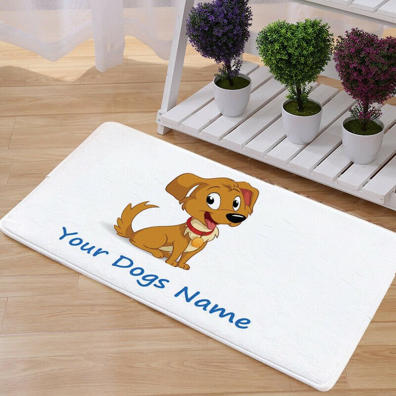 Custom Dog Name Mat Natural Cotton Floor Door Anti Slip