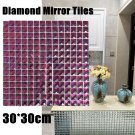 11Sheet Clear Mirror Tile Crystal Diamond Mosai c Bevel Glass Backsplash Ktv Bar