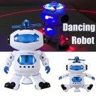 360° Electronic Smart Walking Dancing Space Toddler Robot Kids Music Light Toy