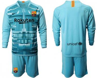 the best attitude ec9f6 e4a3e 2019 2020 Men's Barcelona Goalkeeper Long Sleeves Team Jersey Kits Blue