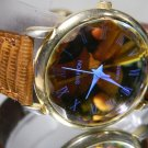 Womens Shiffon Golden Faceted Crystal Watch. Leather Band. New Battery. Warranty