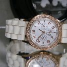 New Rose Gold on Arctic White Subdial Chrono Style Iced Womens Watch New Battery