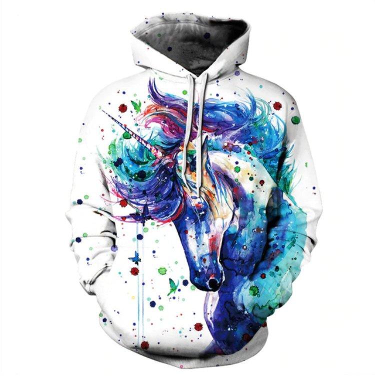 Hoodie 2019 Winter Fleece Kangaroo Sweatshirt Women New Fashion Horse Hooded Hoodies