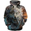 Hoodies Sweatshirt Wome Fox Print Pullover Hoodies Punk Casual Pocketed Drawstring Hooded Sweatshirt
