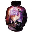 2019 Newest Collection Alpacas On Mountain 3D Printed Galaxy Hooded Sweatshirt Causal Winter