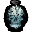 Forest Skull Print Black Hoodie Women Ladies Autumn Plus Size Hooded Sweatshirts Long Sleeve