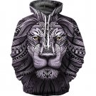 Lion Printed Loose Fashion Coat for Autumn Winter Comfort Workout Hooded Sweatshirt