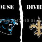 Carolina Panthers flag with house vs New Orleans Saints Flags with divided Flag