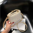 2020 Women Straw Woven Shoulder Bag PU Leather Splicing Handbag Summer Casual