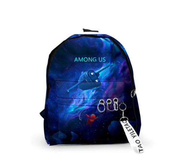 Among us Backpacks Small Bags Unisex Candy Colors 3D Oxford Waterproof Key Chain Cute